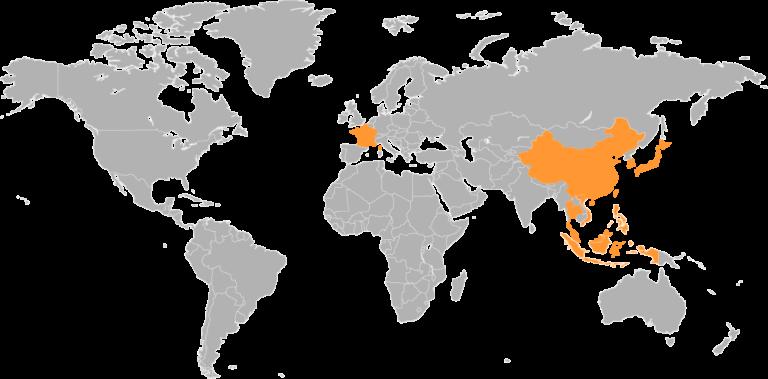 Carte du monde présentant l'origine des partenaires de Tanso Tech